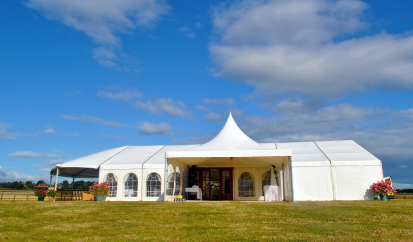 2014 Wedding marquee 12 x 18m with a hip end, decking and a Chinese hat entrance porch