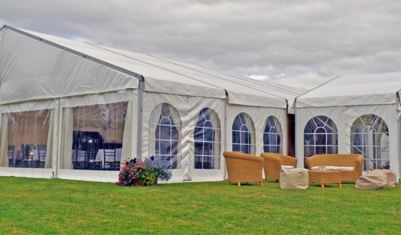 2014 Wedding Marquee 12 x 18m with clear walls and an entrance tent